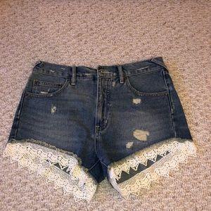 Free people denim fringe lace shorts